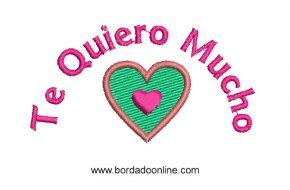 Diseños Bordado de Corazon con frases de Amor
